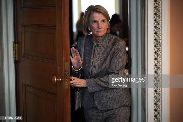 S Sen Shelley Moore Capito leaves after the weekly Senate Republican Policy Luncheon for votes at the Senate floor January 24 2019 at the US Capitol...