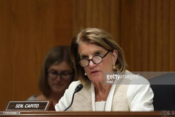 Sen. Shelley Moore Capito, questions Xavier Becerra, Secretary of the Department of Health and Human Services , as he testifies before a Senate...