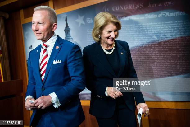 Sen Shelley Moore Capito RWVa and Rep Jeff Van Drew DNJ attend a news conference introducing legislation that would help offset expenses incurred by...
