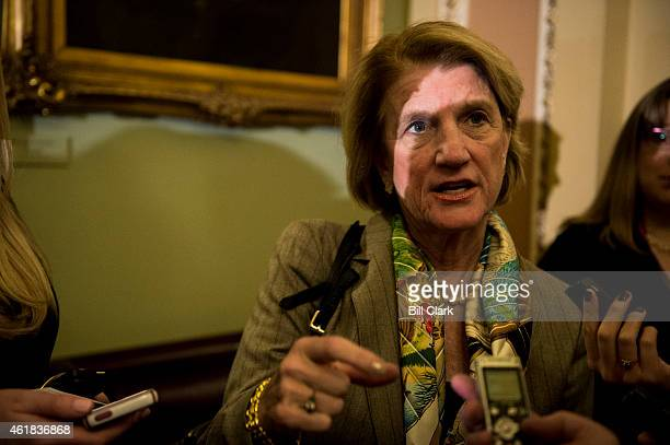 Sen Shelley Moore Capito RWVa speaks with reporters in the Ohio Clock Corridor following the Senate Republicans' policy lunch on Tuesday Jan 20 2015