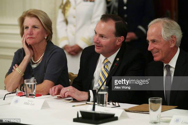 US Sen Shelley Moore Capito Sen Mike Lee and Sen Bob Corker wait for the beginning of a meeting with President Donald Trump at the East Room of the...
