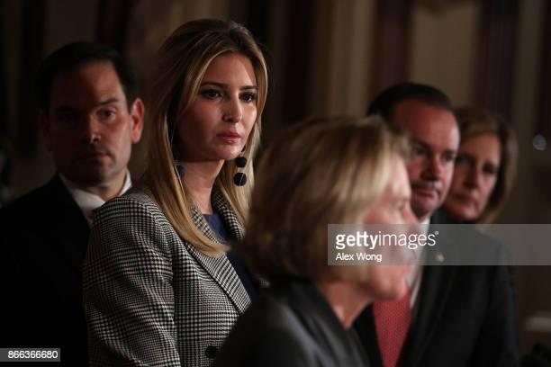 S Sen Shelley Moore Capito speaks as Sen Marco Rubio Ivanka Trump Adviser and daughter of President Donald Trump Sen Mike Lee and Rep Claudia Tenney...