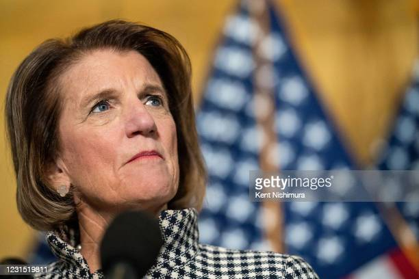 Sen. Shelley Moore Capito speaks during a press conference on Capitol Hill on Thursday, March 4, 2021 in Washington, DC.
