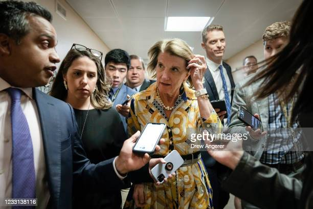 Sen. Shelley Moore Capito speaks with reporters on her way to a vote at the U.S. Capitol on May 27, 2021 in Washington, DC. The mother of late...
