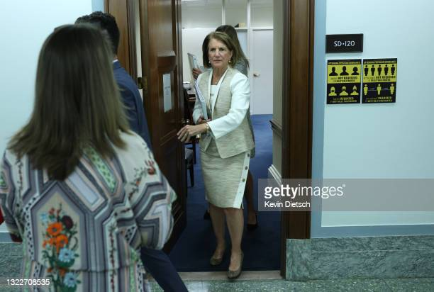 Sen. Shelley Moore Capito walks to a Senate Appropriations Subcommittee hearing on the Environmental Protection Agency fiscal year 2022 budget...