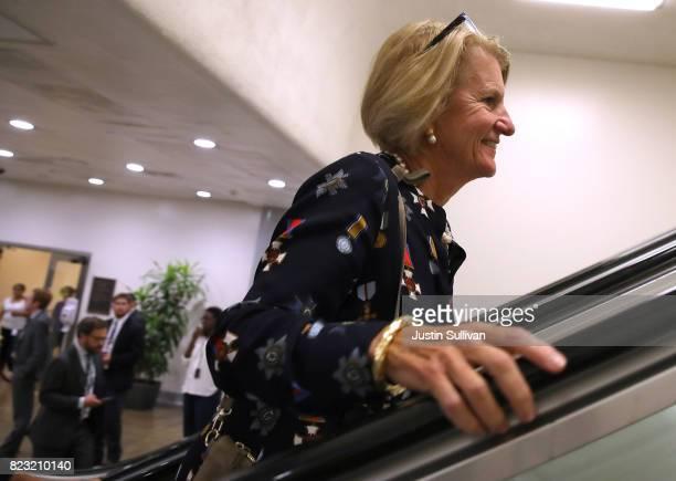 S Sen Shelley Moore Capito walks to the US Capitol on July 26 2017 in Washington DC Sen Murkowski was one of nine republican senators to vote against...