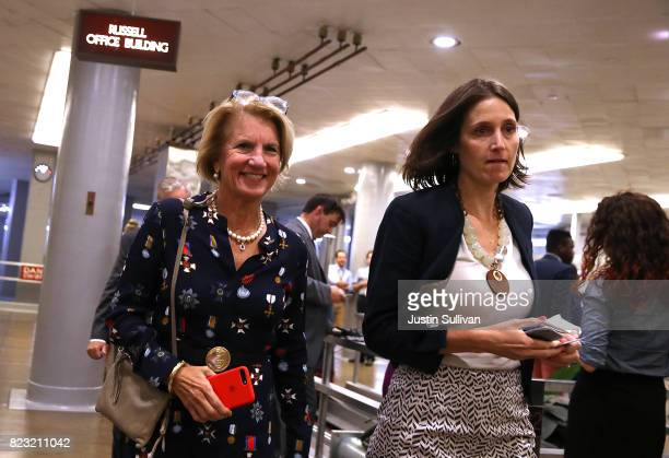 S Sen Shelley Moore Capito walks to the US Capitol on July 26 2017 in Washington DC The US Senate will continue debate on the Better Care...