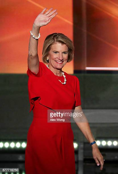 Sen Shelley Moore Capito waves to the crowd as she walks on stage to deliver a speech on the second day of the Republican National Convention on July...