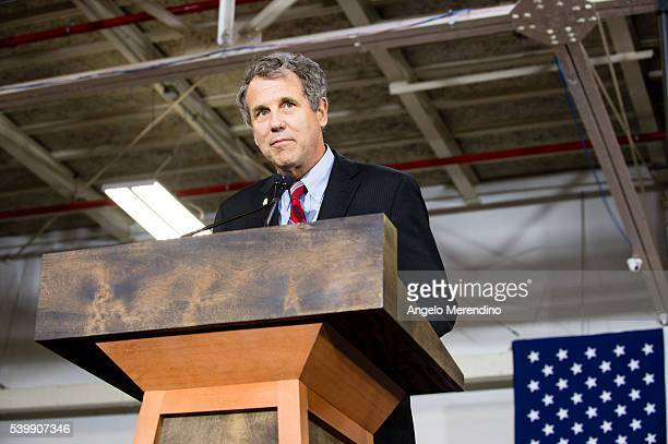 Sen Sherrod Brown speaks at a campaign rally for Democratic presidential candidate Hillary Clinton on June 13 2016 in Cleveland Ohio In the wake of...