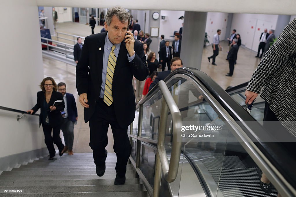 Sen. Sherrod Brown (D-OH) talks on his mobile phone while heading to the weekly Senate Democratic policy luncheon at the U.S. Capitol May 17, 2016 in Washington, DC. Brown said last month that he is happy representing Ohio and is not interested in being a running mate with Democratic presidential candiate Hillary Clinton.