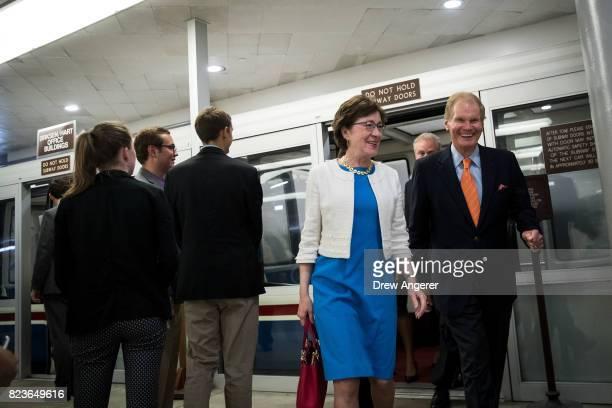 Sen Susan Collins and Sen Bill Nelson walk through the Senate subway on his way to an amendment vote on the GOP heath care legislation on Capitol...