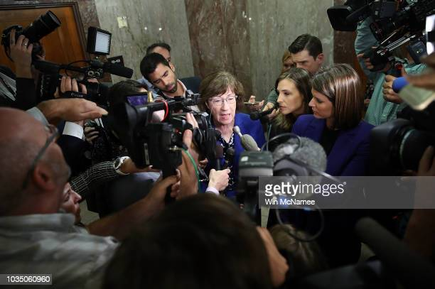 Sen. Susan Collins answers questions from reporters on allegations against Supreme Court nominee Brett Kavanaugh on Capitol Hill September 17, 2018...