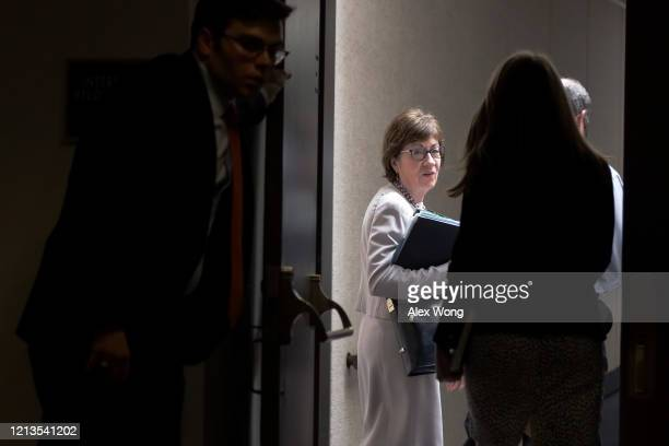 Sen. Susan Collins arrives at a Senate Republican luncheon at Hart Senate Office Building March 19, 2020 on Capitol Hill in Washington, DC. The...