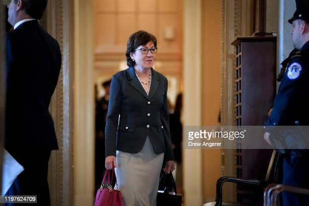 Sen. Susan Collins arrives at the Senate chamber as the Senate impeachment trial of U.S. President Donald Trump continues at the U.S. Capitol on...