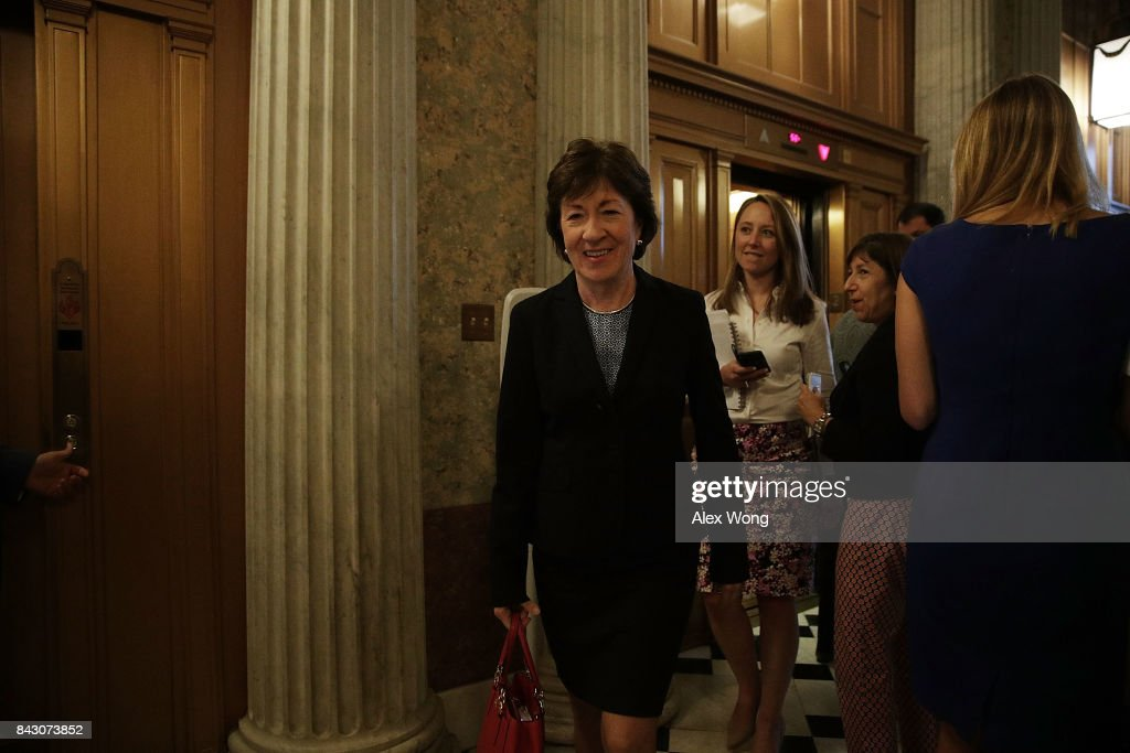 U.S. Sen. Susan Collins (L) arrives for a vote at the Capitol September 5, 2017 in Washington, DC. Congress is back from summer recess with a heavy legislative agenda in front of them.