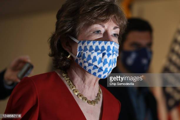 Sen. Susan Collins arrives for the weekly Senate Republican policy luncheon in the Hart Senate Office Building on Capitol Hill June 09, 2020 in...