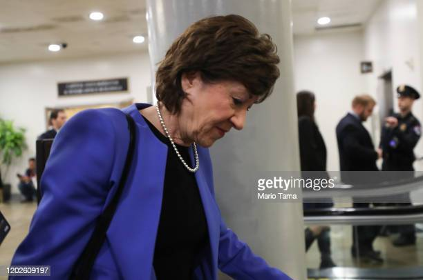 Sen. Susan Collins arrives to the U.S. Capitol for the Senate impeachment trial on January 28, 2020 in Washington, DC. President Donald Trump's legal...