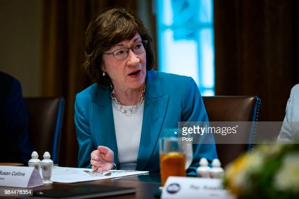 Sen. Susan Collins attends a lunch meeting for Republican lawmakers in the Cabinet Room at the White House June 26, 2018 in Washington, DC. The...