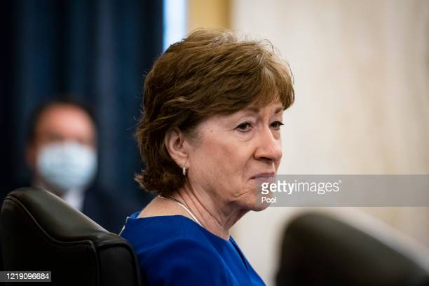 Sen. Susan Collins attends a Senate Small Business and Entrepreneurship Committee hearing on June 10, 2020 in Washington, DC. The committee is...