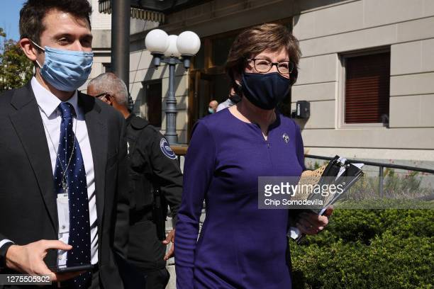 Sen. Susan Collins leaves a meeting of GOP senators at the National Republican Senatorial Committee offices September 22, 2020 in Washington, DC....