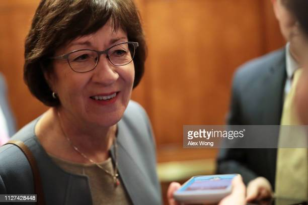 Sen. Susan Collins leaves after a vote at the U.S. Capitol February 4, 2019 in Washington, DC. The Senate has voted cloture on S.1, the United States...