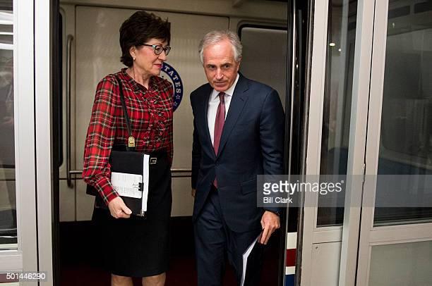 Sen Susan Collins RMaine and Sen Bob Corker RTenn arrive in the Capitol for the Senate Republicans' lunch on Tuesday Dec 15 2015