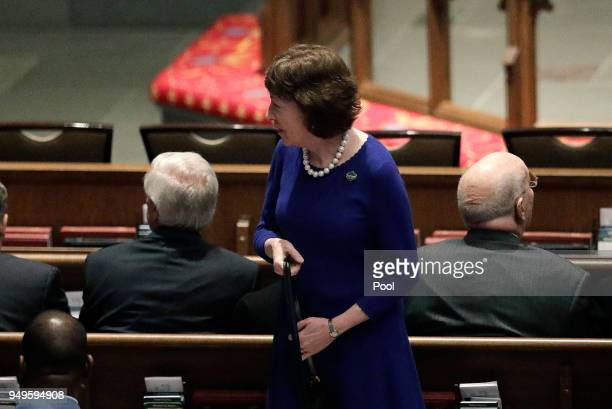 Sen Susan Collins RMaine arrives at St Martin's Episcopal Church for a funeral service for former first lady Barbara Bush on April 21 2018 in Houston...