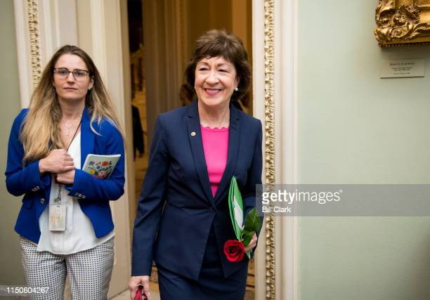 Sen. Susan Collins, R-Maine, arrives for the Senate Republicans policy lunch after casting her 7000th Senate vote in a row on Tuesday, June 18, 2019.