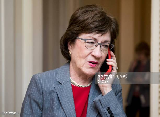 Sen. Susan Collins, R-Maine, arrives to attend the Senate Republicans policy lunch in the Capitol on Tuesday, June 25, 2019.