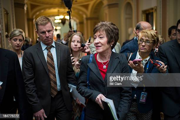Sen Susan Collins RMaine leaves the Senate Republican meeting in the Capitol on a deal to end the government shutdown and avert the debt limit crisis...