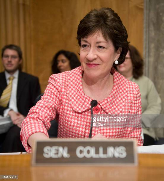 Sen. Susan Collins, R-Maine, prepares to receive testimony from Homeland Security Secretary Janet Napolitano during the Senate Homeland Security and...