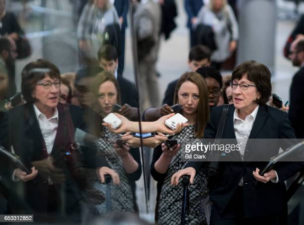 Sen Susan Collins RMaine speaks with reporters as she arrives for the Senate Republicans' policy lunch in the Capitol on Tuesday March 14 2017