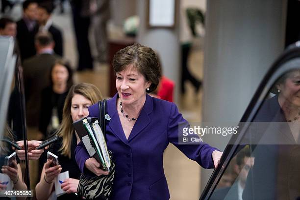Sen Susan Collins RMaine speaks with reporters as she arrives in the Capitol for a vote on Wednesday March 25 2015