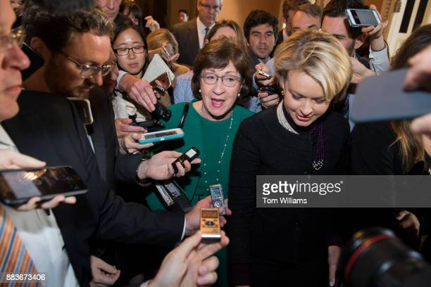 Sen Susan Collins RMaine talks with reporters before Senate Majority Leader Mitch McConnell RKy announced that Republicans have enough votes to pass...