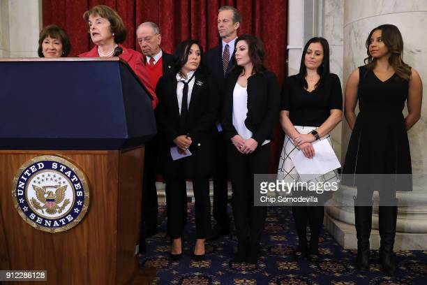 Sen Susan Collins Sen Dianne Feinstein Senate Judiciary Committee Chairman Charles Grassley and Sen John Thune join former champion gymnasts Jeanette...