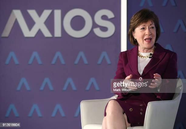 Sen Susan Collins speaks about President Donald Trump's State of the Union address during an interview with Mike Allen of Axios on January 31 2018 in...