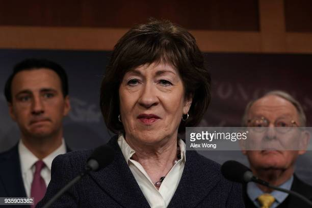Sen. Susan Collins speaks as Rep. Ryan Costello and Sen. Lamar Alexander listen during a news conference at the Capitol March 21, 2018 in Washington,...