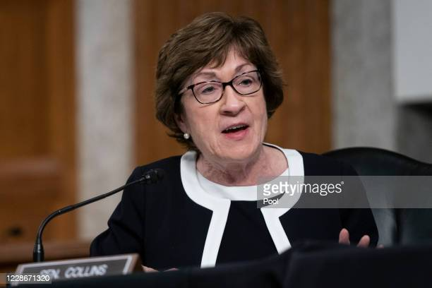 Sen. Susan Collins speaks at a hearing of the Senate Health, Education, Labor and Pensions Committee on September 23, 2020 in Washington, DC. The...