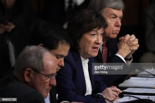 S Sen Susan Collins speaks during a confirmation hearing for CIA Director nominee Gina Haspel before the Senate Committee on Intelligence May 9 2018...