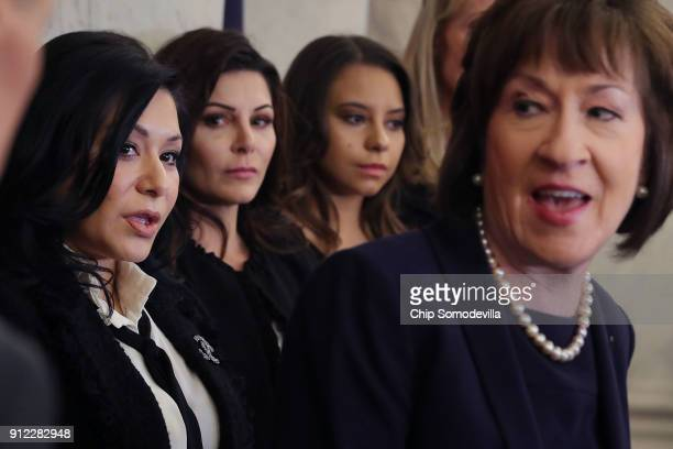 Sen Susan Collins speaks during a news conference to discuss new legislation to protect athletes with gymnasts Jeanette Antolin Jamie Dantzscher and...