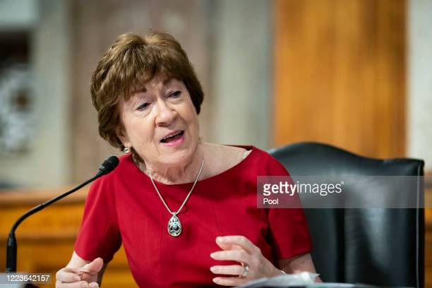 Sen. Susan Collins speaks during a Senate Health, Education, Labor and Pensions Committee hearing on June 30, 2020 in Washington, DC. Top federal...