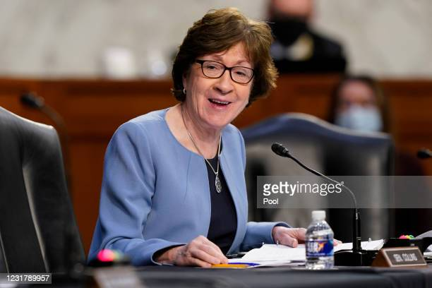 Sen. Susan Collins speaks during a Senate Health, Education, Labor and Pensions Committee hearing on the federal coronavirus response on Capitol Hill...