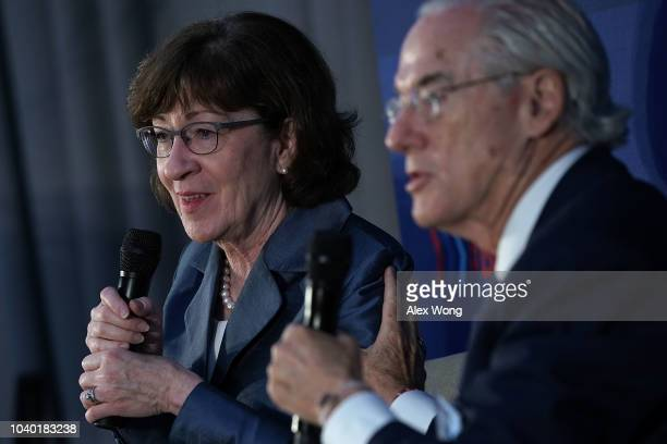 S Sen Susan Collins speaks during the annual UsAgainstAlzheimer's summit September 25 2018 in Washington DC UsAgainstAlzheimer's held its fifth...