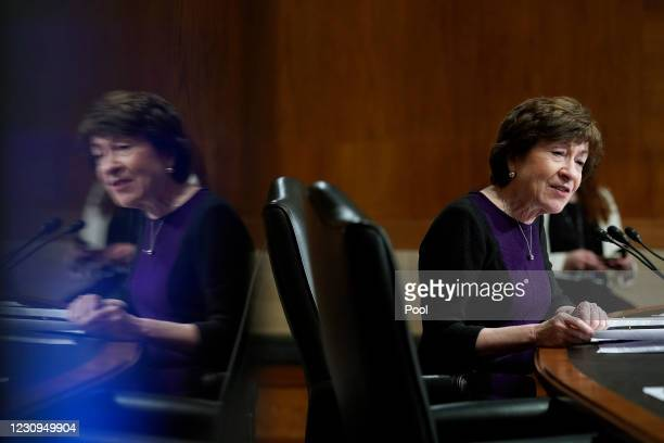 Sen. Susan Collins speaks during the Senate Health, Education, Labor and Pensions Committee confirmation hearing for U.S. Secretary of Education...