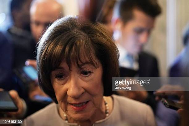 Sen. Susan Collins speaks to reporters after a floor speech to announce that she will vote for the nomination of Supreme Court Judge Brett Kavanaugh...