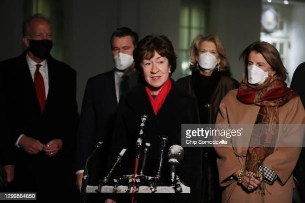 Sen. Susan Collins speaks to reporters as Rep. Jerry Moran , Rep. Todd Young , Sen. Lisa Murkwoski and Sen. Shelley Moore Capito after meeting with...
