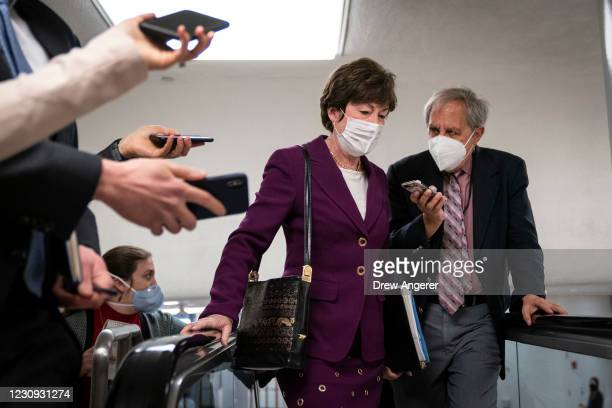 Sen. Susan Collins speaks to reporters on her way to a vote at the U.S. Capitol on February 2, 2021 in Washington, DC. On Tuesday afternoon the...
