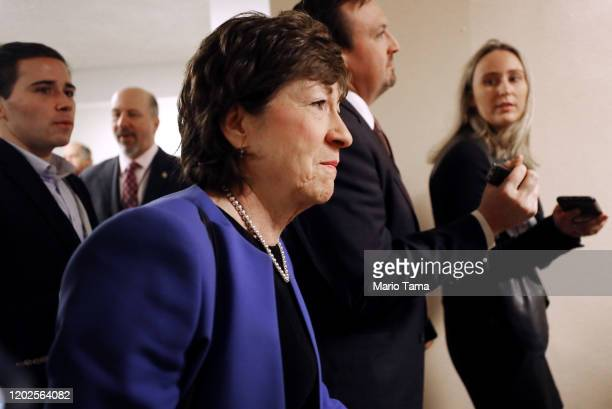 Sen. Susan Collins speaks to reporters upon arrival to the U.S. Capitol for the Senate impeachment trial on January 28, 2020 in Washington, DC....