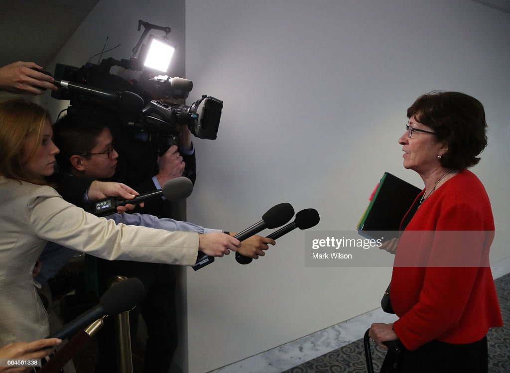 Sen. Susan Collins (R-ME) speaks to the media before entering a Senate Select Committee on Intelligence closed door meeting at the U.S. Capitol, on April 4, 2017 in Washington, DC. The committee has launch an investigation into possible Russian interference in the U.S. presidential election.