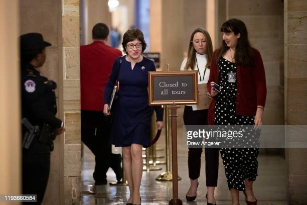 Sen. Susan Collins speaks with a reporter as she walks to the weekly Senate Republican policy luncheon at the U.S. Capitol on January 14, 2020 in...